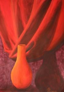 Arüülmaal acrylic painting cloth foldings kangavoldid red punane Keiu Kuresaar