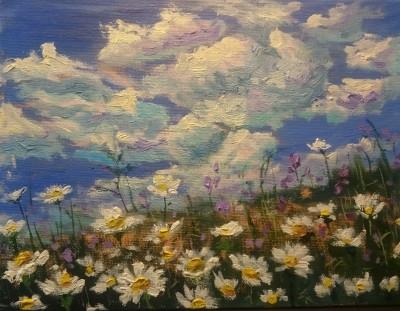 karikakramaastik õlimaal eesti suvi lilled taevas pilved keiu kuresaar