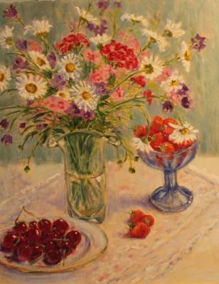 lilled vaasis suvi vaikelu natüürmort maasikad kirsid murelid karikakrad talinelgid keiu kuresaar õlimaal