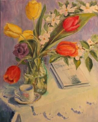 vaikelu lilled kevad tulbid ellen niit õlimaal natüürmort keiu kuresaar