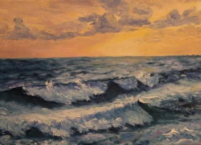 meremaal meresümfoonia lained õlimaal meremaastik keiu kuresaar päikeseloojang