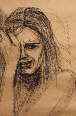 conte crayons joonistus drawing figure figuur nutab cut keiu kuresaar