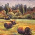 pastel painting landscape pastellmaal hay stacks Keiu Kuresaar