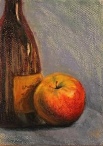 pastel painting pastellmaal still life sweet apple sider õunasiider Keiu Kuresaar