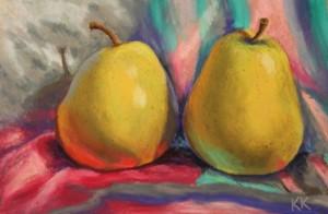 pastel painting pastellmaal still life vaikelu kaks pirni two pears Keiu Kuresaar