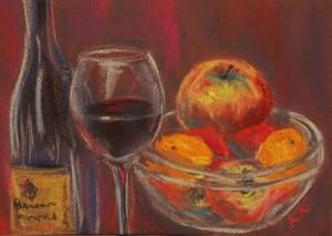 pastel painting pastellmaal still life vaikelu klaas veini Keiu Kuresaar