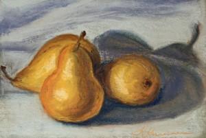 pastel painting pastellmaal still life vaikelu pirnid pears Keiu Kuresaar
