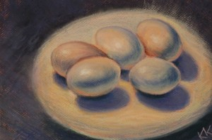 pastel painting pastellmaal still life vaikelu with eggs munadega Keiu Kuresaar