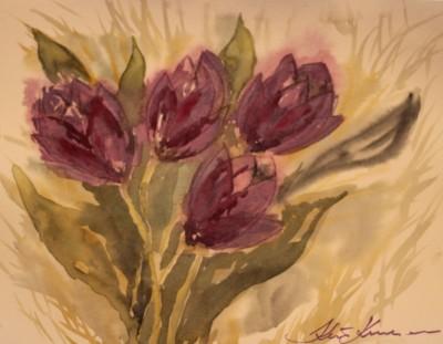 akvarell watercolor tulbid tulips Keiu Kuresaar
