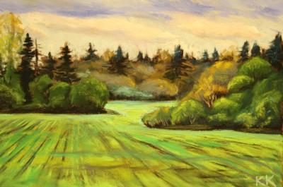 pastel painting landscape maastik pastellmaal põldude kevadised mustrid Keiu Kuresaar
