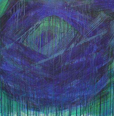 abstraktne maal sisekosmos sini roheline Keiu Kuresaar