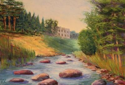 pastel painting landscape maastik pastellmaal Meremõisa Keila Joa jõel Keiu Kuresaar