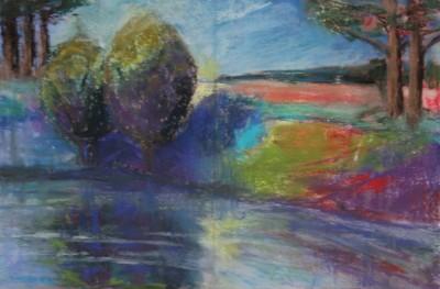 pastel painting landscape maastik pastellmaal jõgi 2 põõsaga Keiu Kuresaar