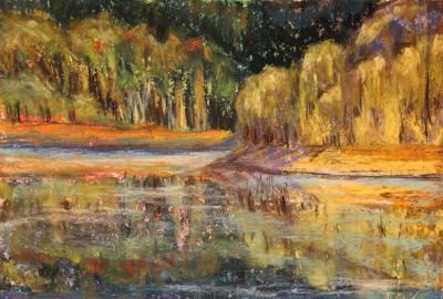 pastel painting pastellmaal maastik landscape järv Keiu Kuresaar