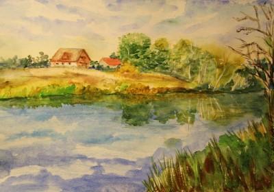 akvarell watercolor landscape maastik Keila jõgi majaga Keiu Kuresaar