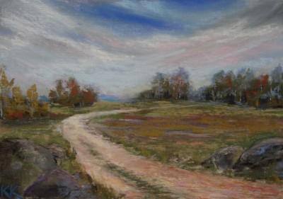 pastel painting landscape maastik pastellmaal Valingu Aila Jõgisoo sügis põld teeKeiu Kuresaar