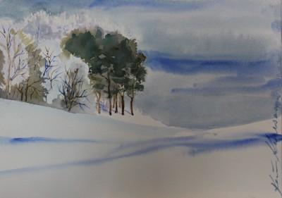 akvarell watercolor landscape maastik talvine metsatukk winter trees 2 Keiu Kuresaar