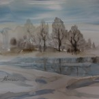 akvarell watercolor landscape maastik talvine metsatukk winter trees and pond Keiu Kuresaar