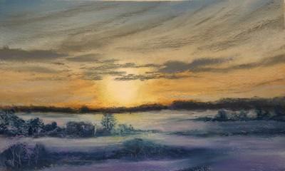 pastel painting landscape maastik pastellmaal Keila jõe luhad Keiu Kuresaar