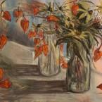 pastel painting pastellmaal still life vaikelu oranžide laternatega Keiu Kuresaar