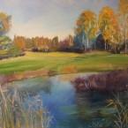 Õlimaal maastik sügis jõe ääres  oil painting landscape autumn river Keiu Kuresaar
