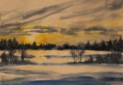 akvarell watercolor landscape maastik Keila jõe luht jaanuaris Keiu Kuresaar