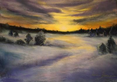 pastel painting landscape maastik pastellmaal Keila jõe luhad 2 Keiu Kuresaar