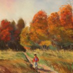 pastel painting landscape maastik pastellmaal koolitee september school road Keiu Kuresaar