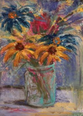 pastel painting pastellmaal still life vaikelu lilled purgis Keiu Kuresaar
