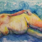 akvarell watercolor akt nude lamav naine woman live model 1 Keiu Kuresaar
