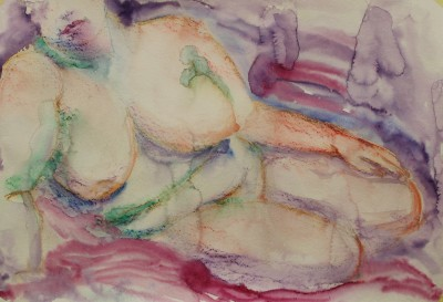 akvarell watercolor akt nude lamav naine woman live model 2 Keiu Kuresaar