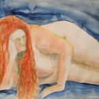 akvarell watercolor akt nude lamav naine woman live model 3 Keiu Kuresaar