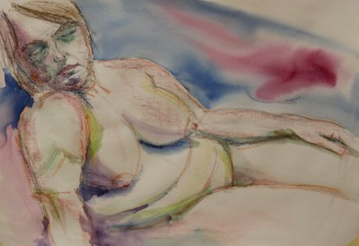 akvarell watercolor akt nude lamav naine woman live model 6 Keiu Kuresaar