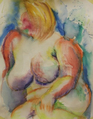 akvarell watercolor akt nude lamav naine woman live model 8 Keiu Kuresaar