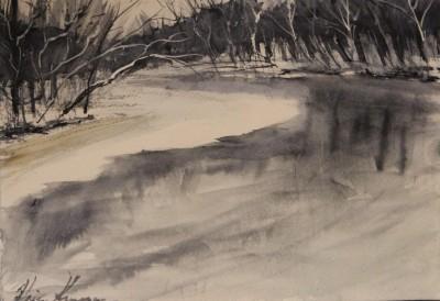 akvarell watercolor landscape maastik river Keila joa 1 Keiu Kuresaar