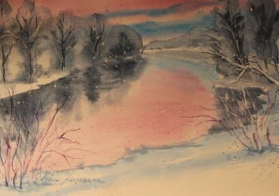 akvarell watercolor landscape maastik river keila jõgi Keiu Kuresaar