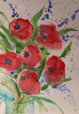 akvarell watercolor lilled floral 3 Keiu Kuresaar