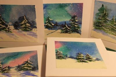 akvarell watercolor post cards postkaardid seasons greeting 2014     christmas Keiu Kuresaar