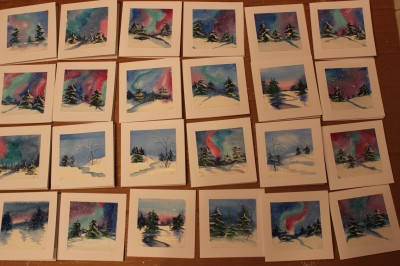 akvarell watercolor post cards postkaardid seasons greeting 2014 christmas Keiu Kuresaar