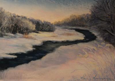 pastel painting landscape maastik pastellmaal Keila jõgi Koolmel talvel Keiu Kuresaar