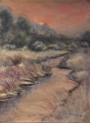 pastel painting landscape maastik pastellmaal Keila jõgi talvel 2 Keiu Kuresaar