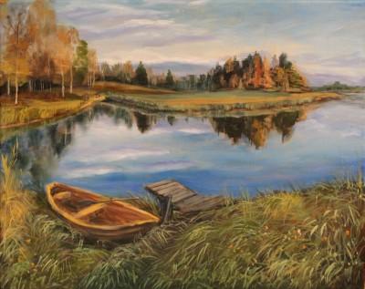 Õlimaal maastik Keila jõgi river lootsikuga oil painting landscape Keiu Kuresaar