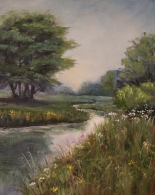 Õlimaal maastik  jõgi river  oil painting landscape Keiu Kuresaar