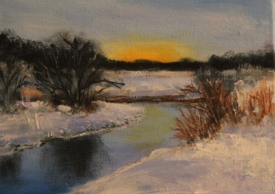 õlimaal maastik Vääna jõe ääres talvel oil painting river winter Keiu Kuresaar