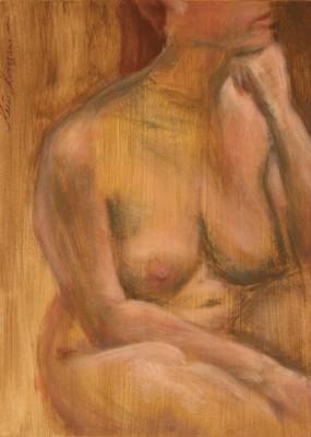 akrüülmaal acrylic painting akt nude istuv naine woman sitting Keiu Kuresaar