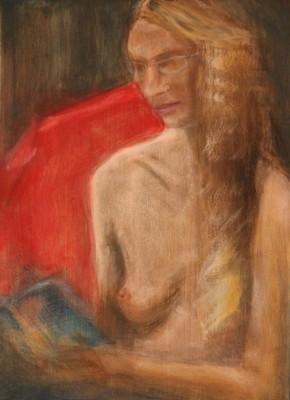 akrüülmaal acrylic painting akt nude istuv naine woman sitting reading  Keiu Kuresaar
