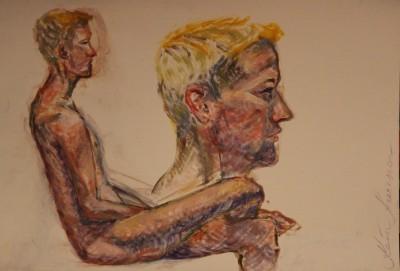 akrüülmaal acrylic painting akt nude istuv noormees sitting man Keiu Kuresaar