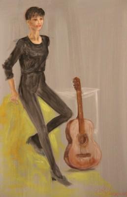 akrüülmaal acrylic painting figure figuur kitarriga  keiu kuresaar