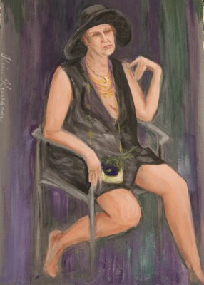 akrüülmaal acrylic painting figure figuur naine kübaraga woman hat keiu kuresaar