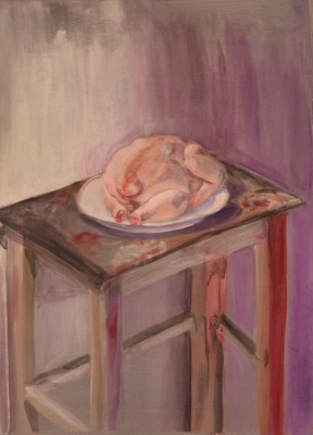akrüülmaal acrylic painting vaikelu natüürmort still life kana chicken keiu kuresaar